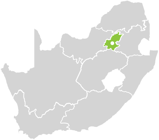 Map of South Africa with the Schools highlighted